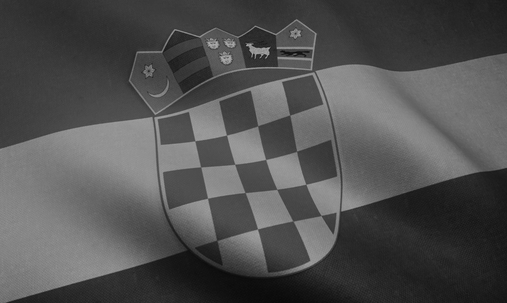 Export in Croazia: la bandiera del Paese in bianco e nero/Croatia: the flag of the country in B/W